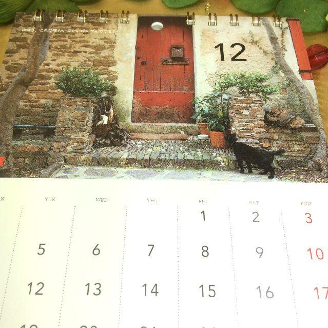 世界を旅する黒猫ノロの2017年壁にも掛けられる卓上カレンダーの古びたレンガの前に佇むノロの写真