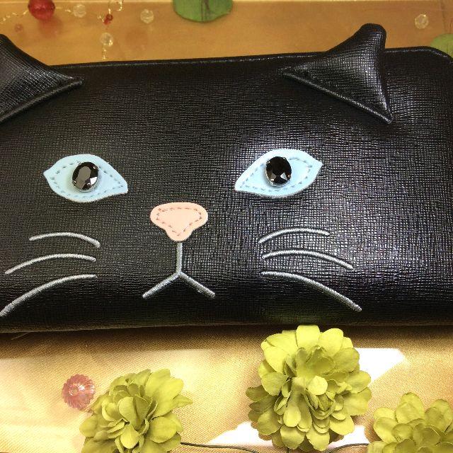 Cat face合皮長財布黒の全体写真